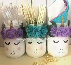 Mystical bashful unicorn mason jar set birthday party decor
