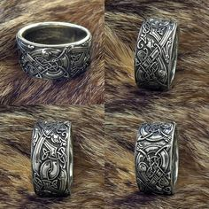 "Ring ""Celtic Dogs Celtic Wolves Sterling silver Wolf Ring. Ring with... ❤ liked on Polyvore featuring jewelry, rings, wolf jewelry, dog ring, celtic jewelry, sterling silver wolf ring and wolf ring"