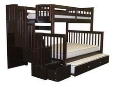 Bunk Beds Twin over Full Stairway Cappuccino + Trundle