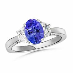 Angara Split Shank Sapphire Engagement Ring in Platinum AO0bm