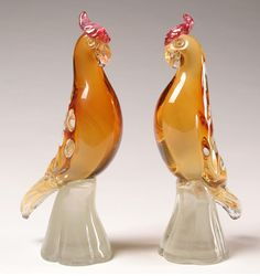 Murano amber glass parrot figurines retailed by Camar Glass, Venice, Italy c.1940