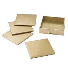 Embossed Croc Leather Coasters, Set of 4, Gold (($))