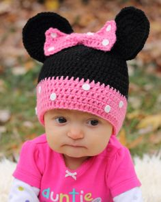 Crochet Minnie Mouse Pink Hat, Polka Dot Beanie, Size Adult, Teen Size, Mickey Mouse Clubhouse, Disney Hat, Mouse Beanie, Ready To Ship