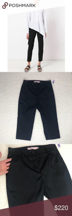 """R.E.D. Valentino cropped trousers Classy and stylish black cropped trousers. Have side pockets, front zip and button closure, belt loops, estimated measurements; inseam 17 1/2"""", rise 9"""", waist 13"""" (26""""). These are EUR 42, which is a US 4. Please see measurements and if you have any questions please feel free to ask me. These are new, we're given to me as gift so most of the tag was cut off. RED Valentino Pants Ankle & Cropped"""