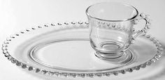 Imperial Glass Ohio CANDLEWICK CLEAR (STEM #3400) Snack Plate & Cup S237136G2 #ImperialGlassOhio