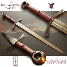 The Iron Academy sword was forged by David DelaGardelle for the Iron Academy school, a school based out of Raleigh North Carolina that was founded to help craft young men into honorable, virtuous, … Swords And Daggers, Knives And Swords, Viking Sword, Sword Design, Medieval Weapons, Arm Armor, Fantasy Weapons, Cold Steel, Medieval Fantasy