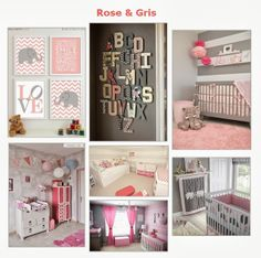 rose+et+gris. Girl Room, Girls Bedroom, Baby Room, Baby Deco, Kidsroom, Toddler Bed, Sweet Home, Room Decor, Nursery