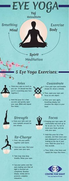 Eye Yoga - A way to relax, concentrate, strength, focus and re-charge your eyes. #Eye #Yoga #Relax #Focus #Sight #Vision #EyeCare #Exercise #Concentrate #CFS #Hospital #Meditation #Mind #EyeHealth #Strength #Protection