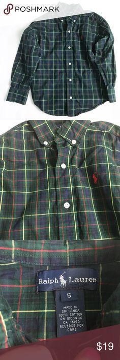 RALPH LAUREN [boys] Green plaid button down Shirt Green, red and blue button down shirt. Excellent condition. Ralph Lauren Shirts & Tops Button Down Shirts