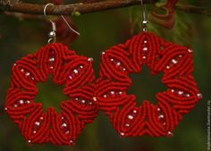 """Купить Серьги """"Цветок"""" - ярко-красный, серьги ручной работы, серьги с бисером, микромакраме, Макраме"""