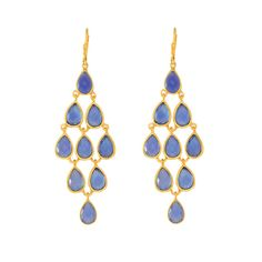 Chandeliers Of Faceted Blue Chalcedony Earrings Set In Yellow Gold Finish Sterling Silver