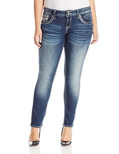 cb3fd7bfc94 Amazon.com  Vigoss Women s Plus-Size Chelsea Skinny Dark Wash Super Stretch  with Matte Sequins and Gold Lurex Embellishment