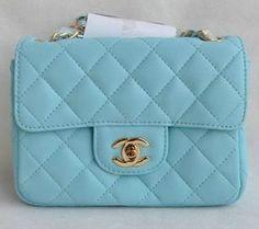 Classic Chanel Mini Flap Bags Flap Blue Sheepskin Gold i think im in love <3 <3 <3