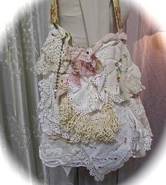Shabby Doily Bag, layered lace linen doilies, romantic Victorian lace ruffles, embellished lace purse, shabby lace bag