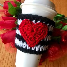 A personal favorite from my Etsy shop https://www.etsy.com/listing/504653901/heart-crochet-coffee-cozy-coffee