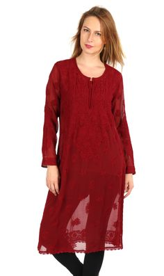 Ethnic exclusive designer Lucknow Chikan Long  hand embroidery kurta/ top for comfortable summer wear  women/ladies/girls : Multiple Size by Indiankala4u on Etsy
