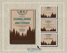 Printable Wedding Invitation Kraft Mountain - Nature Wedding - Outdoor Mountain Wedding - Custom Colors