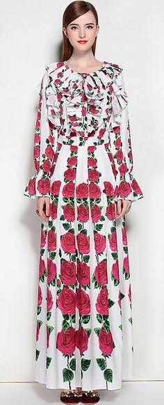 Fashion V-Neck Flare Sleeve Floral Print Maxi Dress