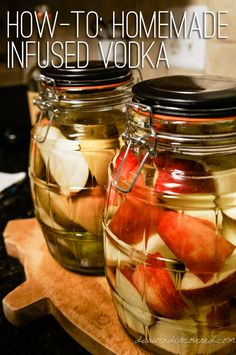 Homemade infused pear and apple vodka