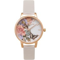 Enchanted Garden Blush Watch by Olivia Burton (330 ILS) ❤ liked on Polyvore featuring jewelry, watches, blush, monarch butterfly jewelry, butterfly watches, leather watches, leather strap watches and butterfly jewelry
