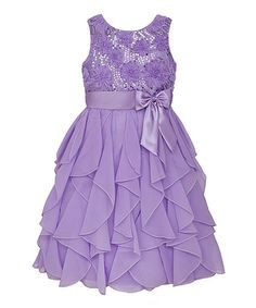 Reallqua, blue mint, Another great find on #zulily! Lilac Sequin Ruffle Dress - Toddler & Girls by American Princess #zulilyfinds
