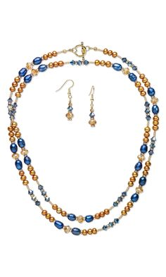 Jewelry Design - Single-Strand Necklace and Earring Set with Cultured Freshwater Pearls and Swarovski Crystal - Fire Mountain Gems and Beads