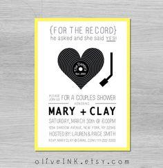 Love this record inspired invitation