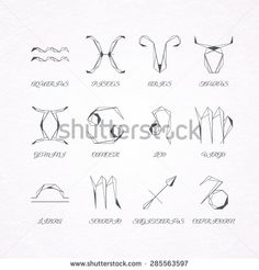 Graphical astrological symbols, polygonal linear zodiacal signs
