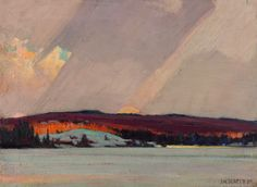 "shear-in-spuh-rey-shuhn: "" JOHN WILLIAM BEATTY Frozen Lake Oil on canvas 45.7 x 61.6 cm """