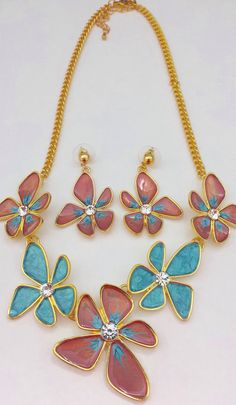 Summer necklace and earring set with turquoise and terracotta flowers. £15.00 from Rainbowcrafts.