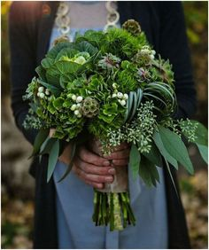 Green bridesmaid bouquet The Return of Jewel Tones for Fall 2014