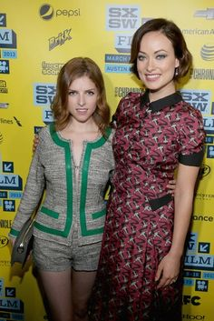 Co-stars Anna Kendrick and Olivia Wilde at the DRINKING BUDDIES premiere at SXSW