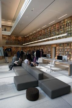 Floor to ceiling books in a very modern setting (The new Poetry Foundation building in Chicago)
