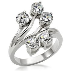 Wome's Stainless Steel Multi Round CZ Cocktail Cluster Vine Flower Ring #Cluster