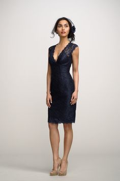 Navy V-neckline Lace Short Dress Over Black Lining with Cap Sleeves