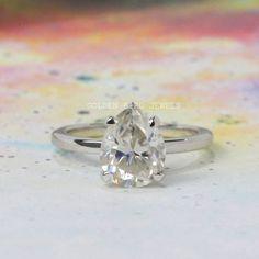#colorlessPearRing #GirlsSolitaireRing #SterlingSliverRing #MoissaniteRing #GiftForHer #WomenDiamondRing #GoldSolitaireRing #AntiqueJewelry #WeddingRing #WhiteGoldRing #PearSolitaireRing #vintageRings #AnniversaryRing Moissanite Wedding Rings, Gold Solitaire Ring, Diamond Wedding Rings, Bridal Rings, Diamond Engagement Rings, Double Wedding Bands, Anniversary Rings For Her, Solid Gold Jewelry, Three Stone Rings