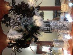 Black & white flower & feather arrangement