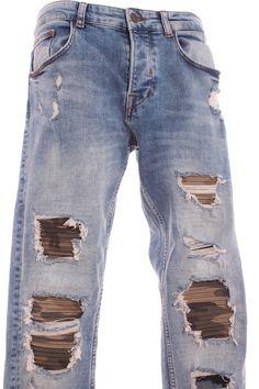 2d2c9e2a5cff Pantalón Hombre – Zara Man Vaquero Roto en Color Azul Claro de Segunda Mano