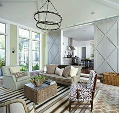 Sitting room? Sun porch? Living room? Regardless, I'm in love with the reclaimed brick floors in a herringbone pattern as well as the grey sliding barn doors  http://mydesigndump.blogspot.com/2011/07/real-house-real-style-virginia-mary.html