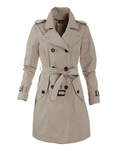 Doppelreihiger Kurztrench | MADELEINE Mode Österreich Mantel Trenchcoat, Short Trench Coat, Double Breasted Coat, Belt Tying, Chf, Polyvore, Button, Fashion, Get Tan