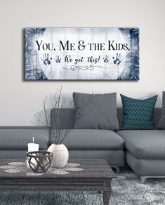 home decor art Family Wall Art: You Me amp; The Kids We Got This (Wood Frame Ready To Hang) My Living Room, Living Room Decor, Kids Living Rooms, Family Rooms, Lobby Design, Bedroom Wall, Bedroom Decor, Bedroom Storage, Kids Bedroom