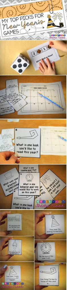 New Years games to start off your week back at school!  FREE PRINTABLES!