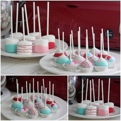 Red, Pink & Blue Cake Pops and Jumbo Marshmallow Pops