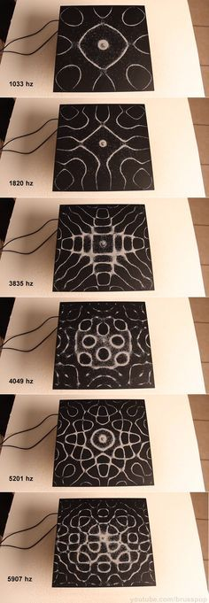 Cymatics: Different patterns emerge in the excitatory medium depending on the geometry of the plate and the driving frequency. Sound Art, Audio Sound, E Mc2, Sound Healing, Sound Waves, Flower Of Life, Knowledge, Cool Stuff, Inspiration