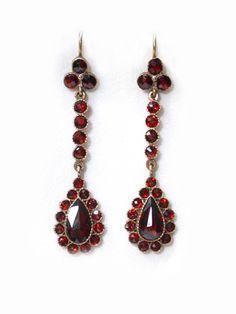Edwardian Bohemian Garnet Drop Earrings