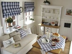 blue and white plaid and gingham - mostly white with some wood tones