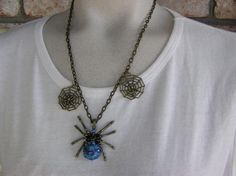 Are Blue Spiders Lethal Blue Spider Halloween Necklace