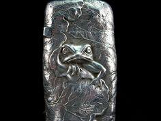 Fantastic George Shiebler sterling silver vesta/ match safe  with frog and lilypad motif! c1890 (estatesaleantiqueauctions)