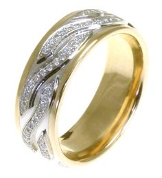 14kt Two-tone gold diamond, comfort fit, 7.0mm wide wedding band. The diamonds are approximately 0.44 ct tw, VS1-2 in clarity and G-H in color. There are about 96 brilliant round cut diamonds and each measures about 0.005 ct. It is 7.0mm wide and comfort fit.