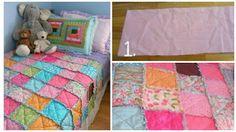 Cómo hacer una colcha con retazos de tela para mamá ~ Solountip.com Picnic Blanket, Outdoor Blanket, Reuse, Quilts, Sewing, Crochet, Bed, Furniture, Home Decor
